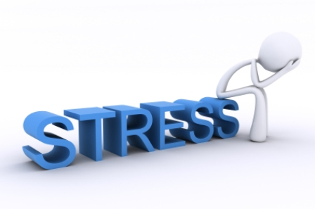 3D Character with head in hands, sitting on the word Stress